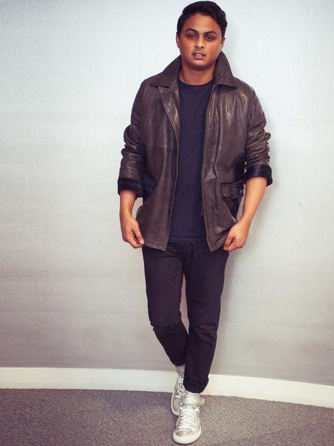 "<p>Sunil Makan, Picture Assistant:</p><p><a href=""http://www.pringlescotland.com/"">Pringle of Scotland</a> leather jacket, Uniqlo roll neck jumper, Cheap Monday jeans, <a href=""http://www.pierrehardy.com/"">Pierre Hardy</a> metallic trainers</p>"