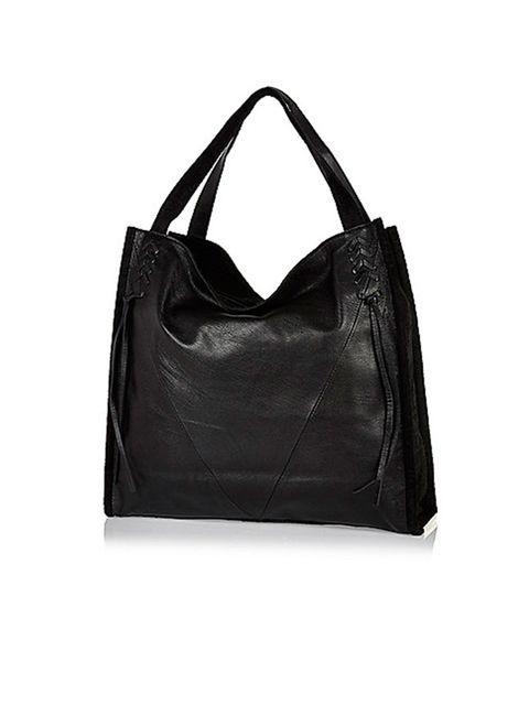 "<p><a href=""http://www.riverisland.com/women/bags--purses/shopper--tote-bags/black-leather-tote-handbag-674051"" target=""_blank"">River Island</a> tote, £48</p>"