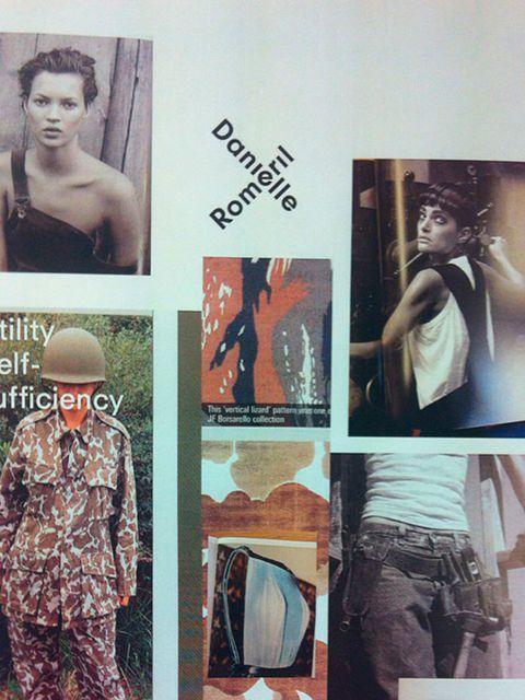 Danielle Romeril (@danielle romeril)  'From the studio wall 5days to go! #ss15 #lfw #mood #inspiratiob #utility'