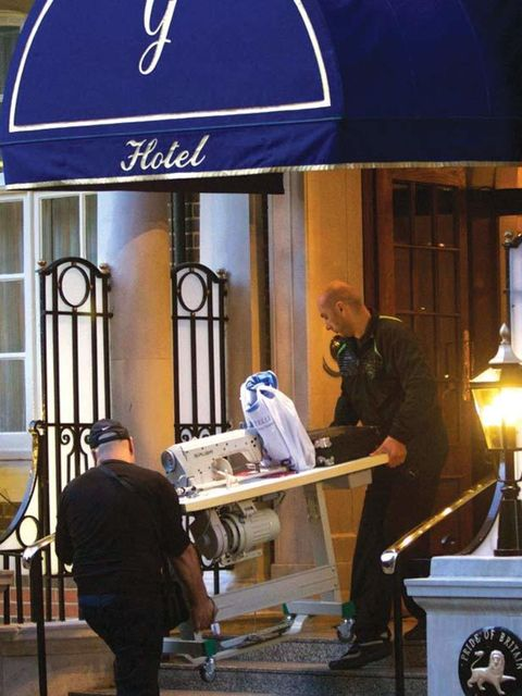 "<p>A giant sewing machine is delivered to The Goring hotel for last minute adjustments for <a href=""http://www.elleuk.com/starstyle/style-files/(section)/kate-middleton"">Kate Middleton</a> &amp&#x3B; <a href=""http://www.elleuk.com/news/Star-style-News/the-roya"
