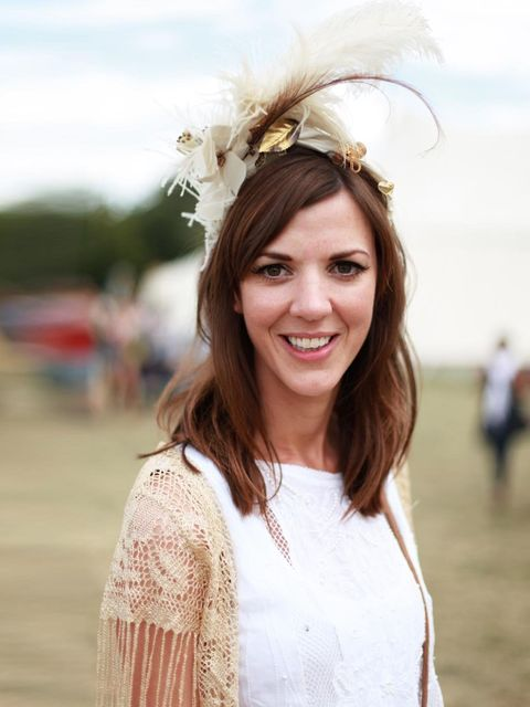 <p>Jane Haigh is wearing Zara dress, top from Portobello market, Feather headdress from Portobello Market.</p>