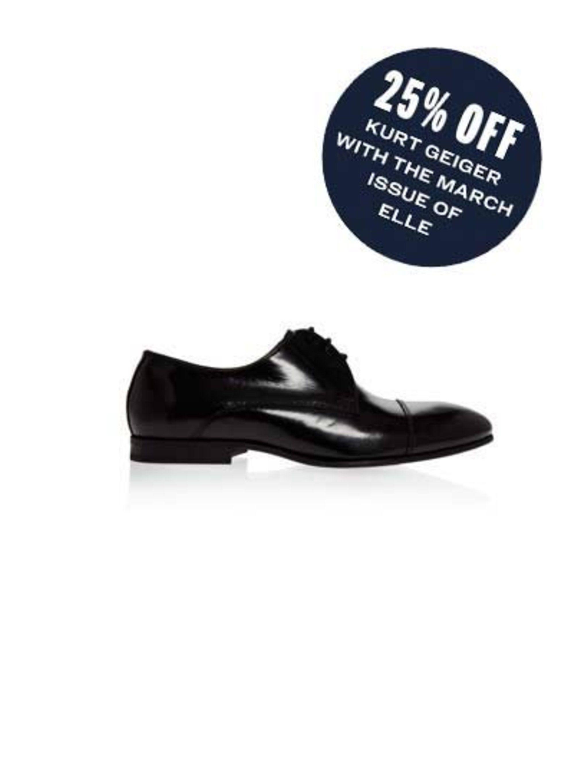 "<p>Tap into the masculine trend this season.</p><p><a href=""http://www.kurtgeiger.com/women/shoes/flats/lennox-black-synthetic-41-kg-kurt-geiger-shoe.html"">Brogue</a>, £79</p>"