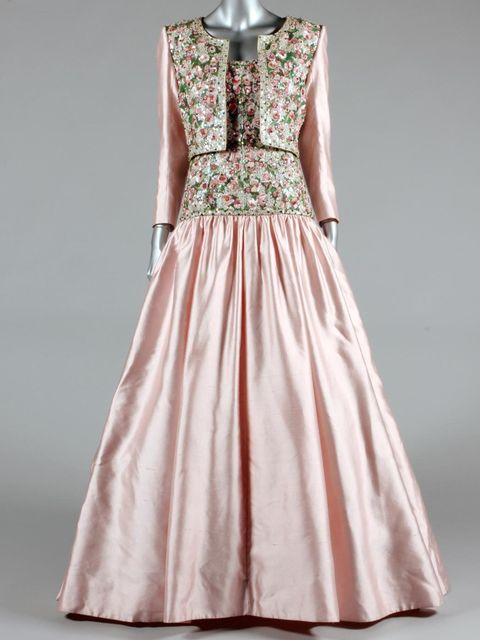 <p>Catherine Walker embroidered evening gown worn by Princess Diana</p>