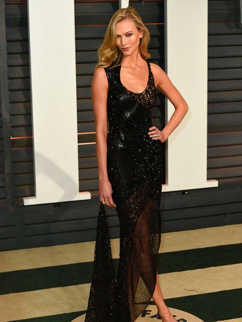 Karlie Kloss arrives for the Vanity Fair Oscar Party, February 2015.