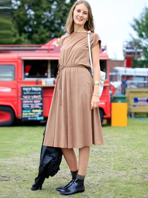 <p>Abby, 25, Journalist. Vintage dress and bag, Zara boots, Tabio socks.</p>