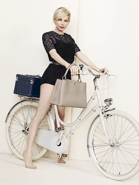 <p>Michelle Williams in her second spring advertising campaign for Louis Vuitton spotlighting three key city bags: the new Lockit, the Capucines, and the iconic Alma. All shot by Peter Lindbergh.</p>