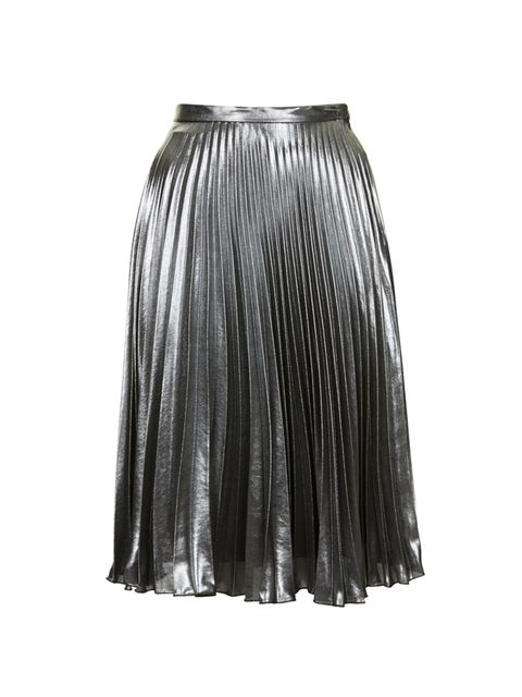 "<p>Dress this skirt down in trainers and a sweatshirt for work then add some oompf with heels and a slinky tee.</p>  <p><a href=""http://www.topshop.com/webapp/wcs/stores/servlet/ProductDisplay?searchTerm=metallic&storeId=12556&productId=17839157&urlReques"