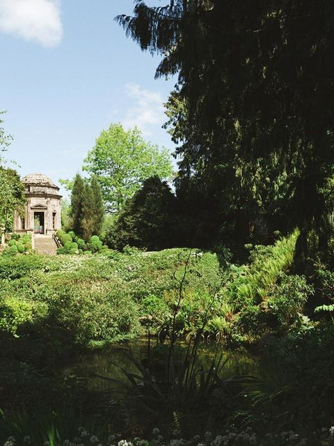 The beautiful Roman temple at Larmer Tree Gardens where we had our civil ceremony