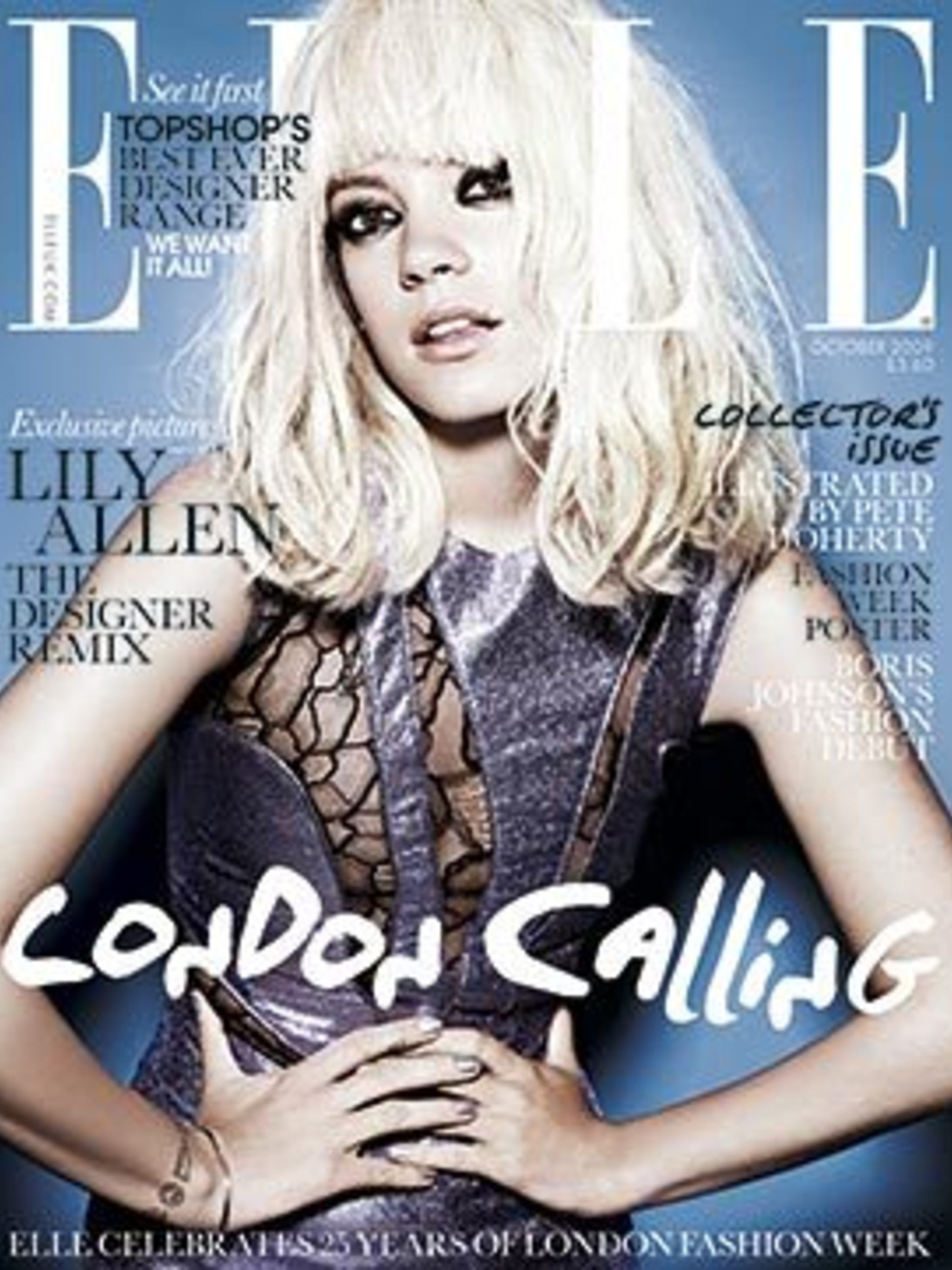 <p>Lily Allen on the October 2009 cover of ELLE</p>