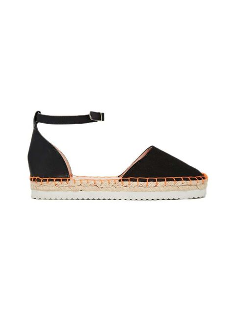 "<p>A classic espadrille with a flash of neon.</p>  <p>Miss KG espadrilles, £40 at <a href=""http://www.asos.com/Miss-KG/Miss-KG-Dominique-2-Part-Espadrille-Flatform-Shoes/Prod/pgeproduct.aspx?iid=4871304&cid=6992&sh=0&pge=1&pgesize=204&sort=-1&clr=Black&to"