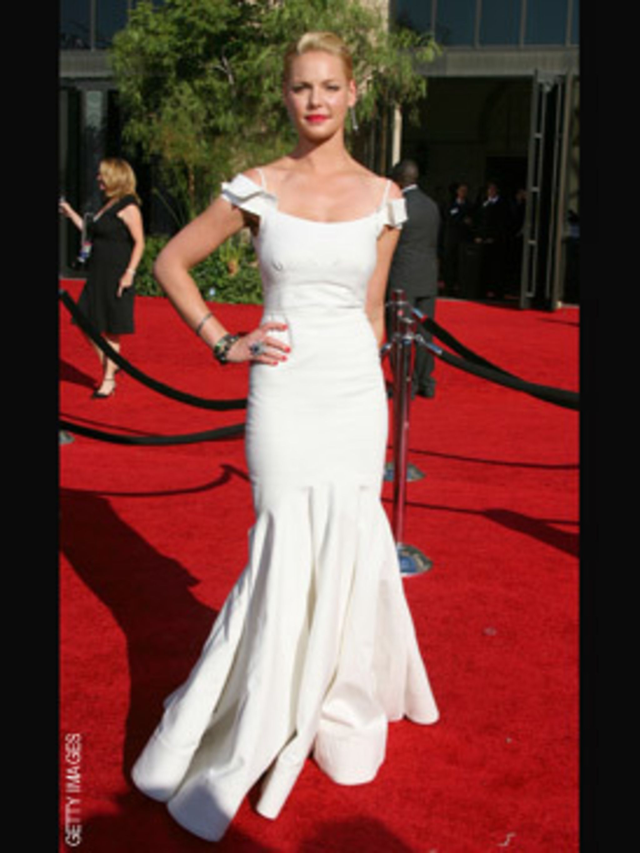 <p>Katherine Heigl in Zac Posen</p>