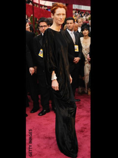<p>Wearing a dress by Alber Elbaz for Lanvin</p>