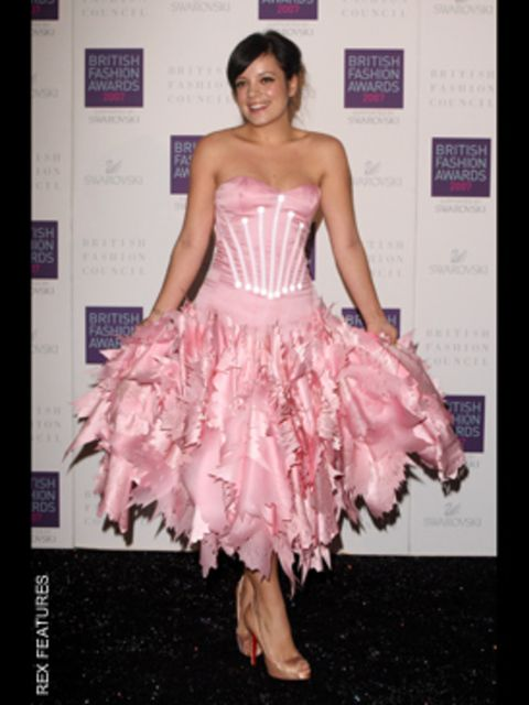 <p>Lily goes glam but still keeps to her quirky signature style in a Giles dress and Louboutin shoes</p>
