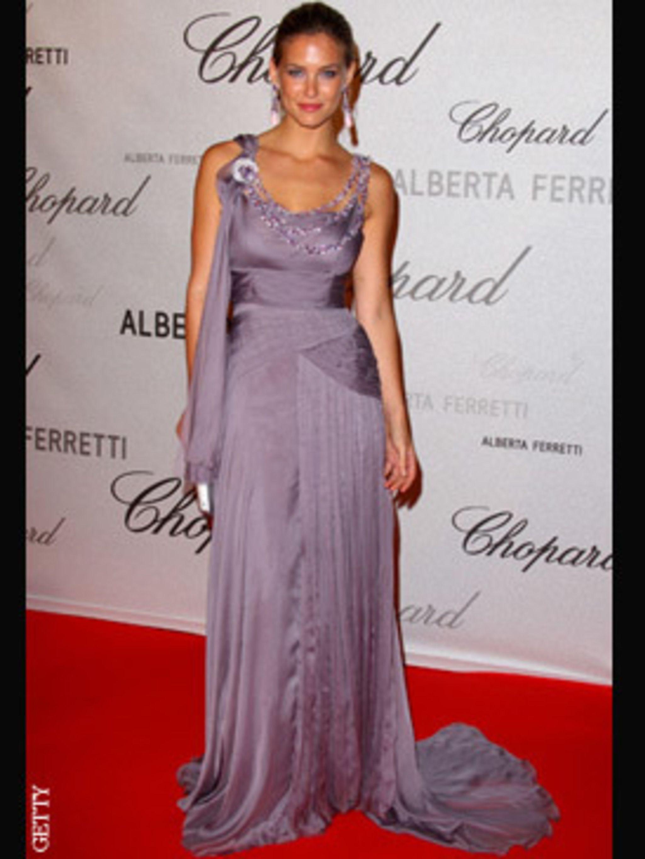 <p>Bar Rafaeli in a custom made Alberta Ferretti gown encrusted with Chopard jems</p>