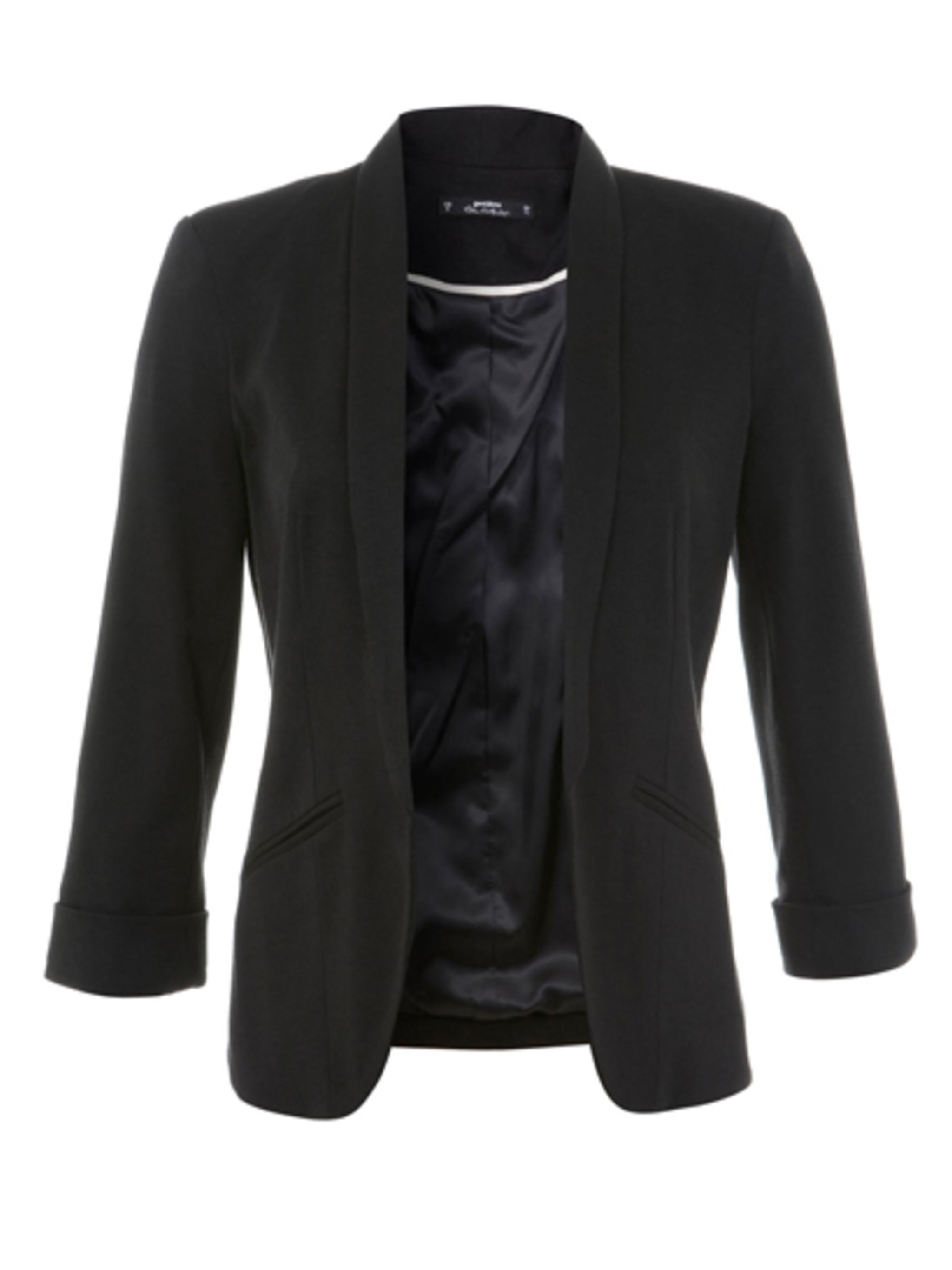 "<p>Black blazer, £39 at <a href=""http://www.missselfridge.com/en/msuk/product/clothing-299047/coats-jackets-299068/blazers-299194/petites-black-jersey-blazer-3232384?refinements=category~%5b208080%7c208077%5d&bi=1&ps=40"">Miss Selfridge</a>.</p>"