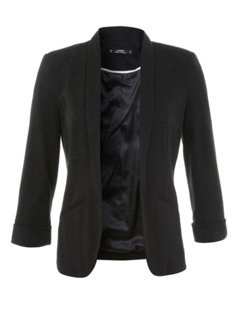 "<p>Black blazer, £39 at <a href=""http://www.missselfridge.com/en/msuk/product/clothing-299047/coats-jackets-299068/blazers-299194/petites-black-jersey-blazer-3232384?refinements=category~%5b208080%7c208077%5d&bi=1&ps=40"">Miss Selfridge</a>.</p>"