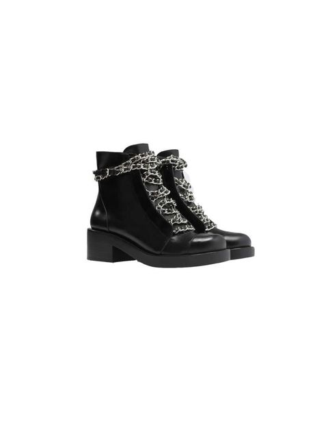 """<p>Forget about your stilettos, these stomping boots will let you run around in style</p>  <p><a href=""""http://www.zara.com/uk/en/shoes---bags/woman/shoes/leather-lace-up-booties-with-chains-c665017p2072559.html"""">Zara</a>, £89.99</p>"""