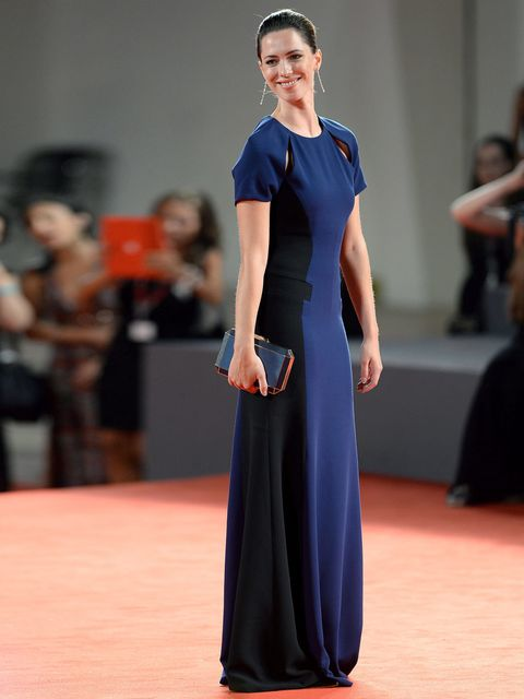 <p>Rebecca Hall is wearing a Prabal Gurung full length blue cut out gown to the Une Promesse premiere, 4th September 2013.</p>