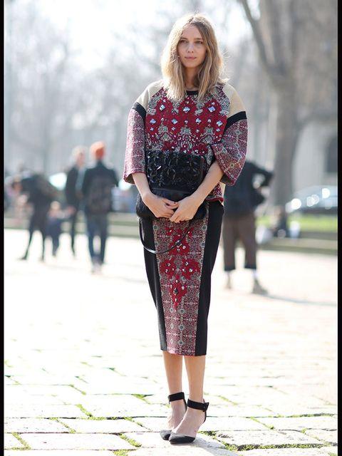 <p>Candela Novembre wearing Antonio Marras with Marni bag and Zara shoes</p>