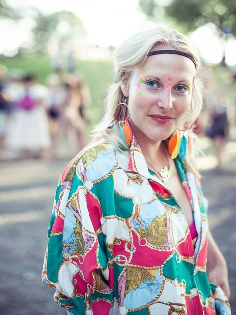 <p>Amelia Sweetlands is wearing a vintage shirt from Kate and Aud and Portobello Road earrings.</p>