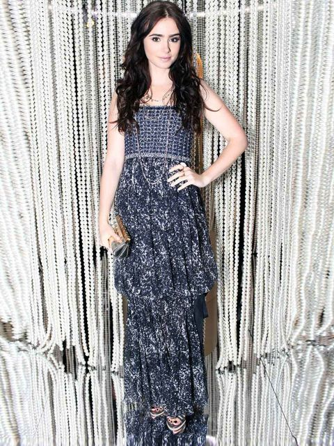 <p>Lily Collins at the Chanel bash in Vegas.</p>