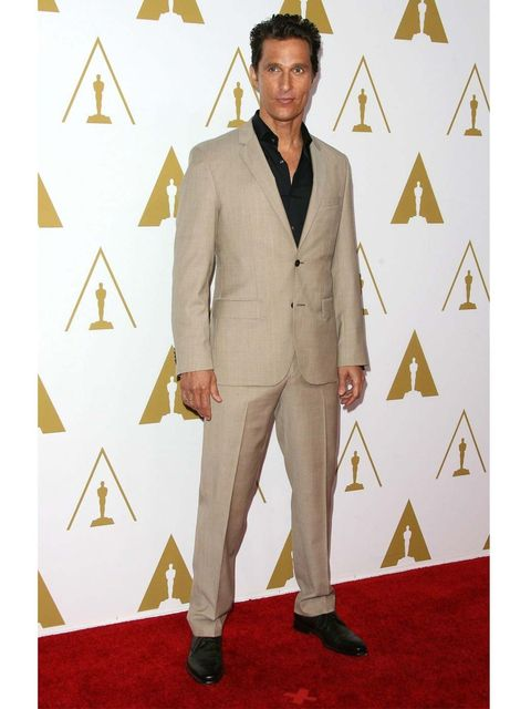 """<p><a href=""""http://www.elleuk.com/star-style/celebrity-style-files/matthew-mcconaughey-elle-man-of-the-week-pictures-of-the-star-of-magic-mike-lincoln-lawyer-and-mud"""">Matthew McConaughey</a> attends the 86th Annual Academy Awards Nominee Luncheon in Hugo"""