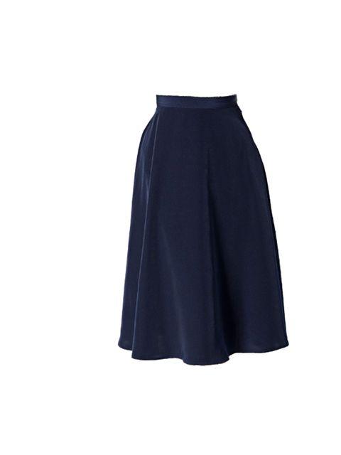 "<p><a href=""http://store.americanapparel.co.uk/rsa0344.html?cid=151-399&c=RoyalBluePeachSkin"">American Apparel</a> navy full circle skirt, £48</p>"
