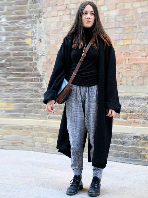 <p>Christina, 21, cardigan from Paris, ASOS trousers, Dr Martens, Gucci bag.</p>