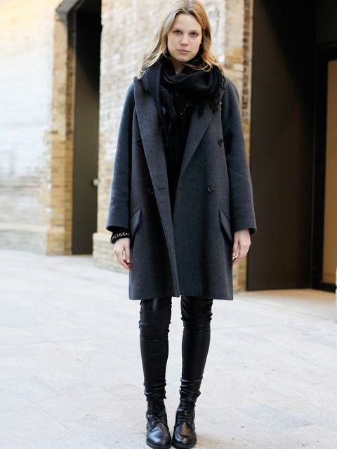 <p>Marilyn, 26, Chloe coat, Risto trousers, vintage boots from Paris, Chanel bag.</p>