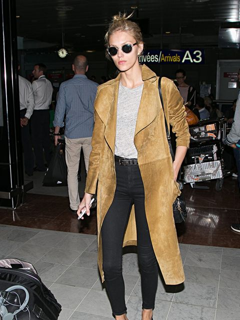 <p>Anja Rubik at Nice airport during Cannes Film Festival,May 2015.</p>