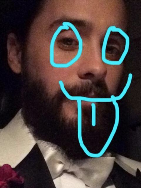 Jared Leto (@jaredleto)  'As they say.. better late than never. #GoldenGlobes #snapchat'