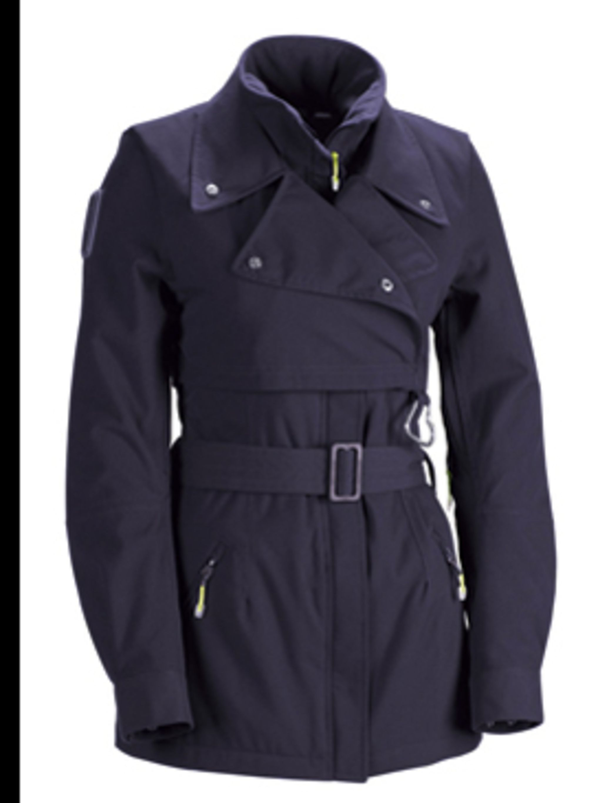 <p>Purple belted jacket, £230, from Adidas by Stella McCartney, for stockists call (0870 240 4204)</p>
