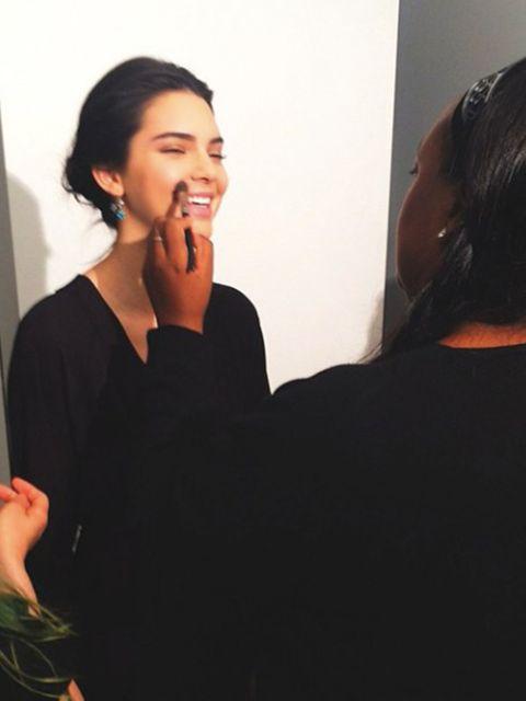 Kendall Jenner @kendalljenner  'backstage touch ups with my love @patmcgrathreal at Bottega Veneta'
