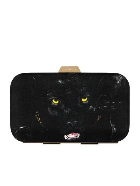 <p>Givenchy by Riccardo Tisci panther box clutch in black, Price on Request, for stockists call 0800 123 400</p>
