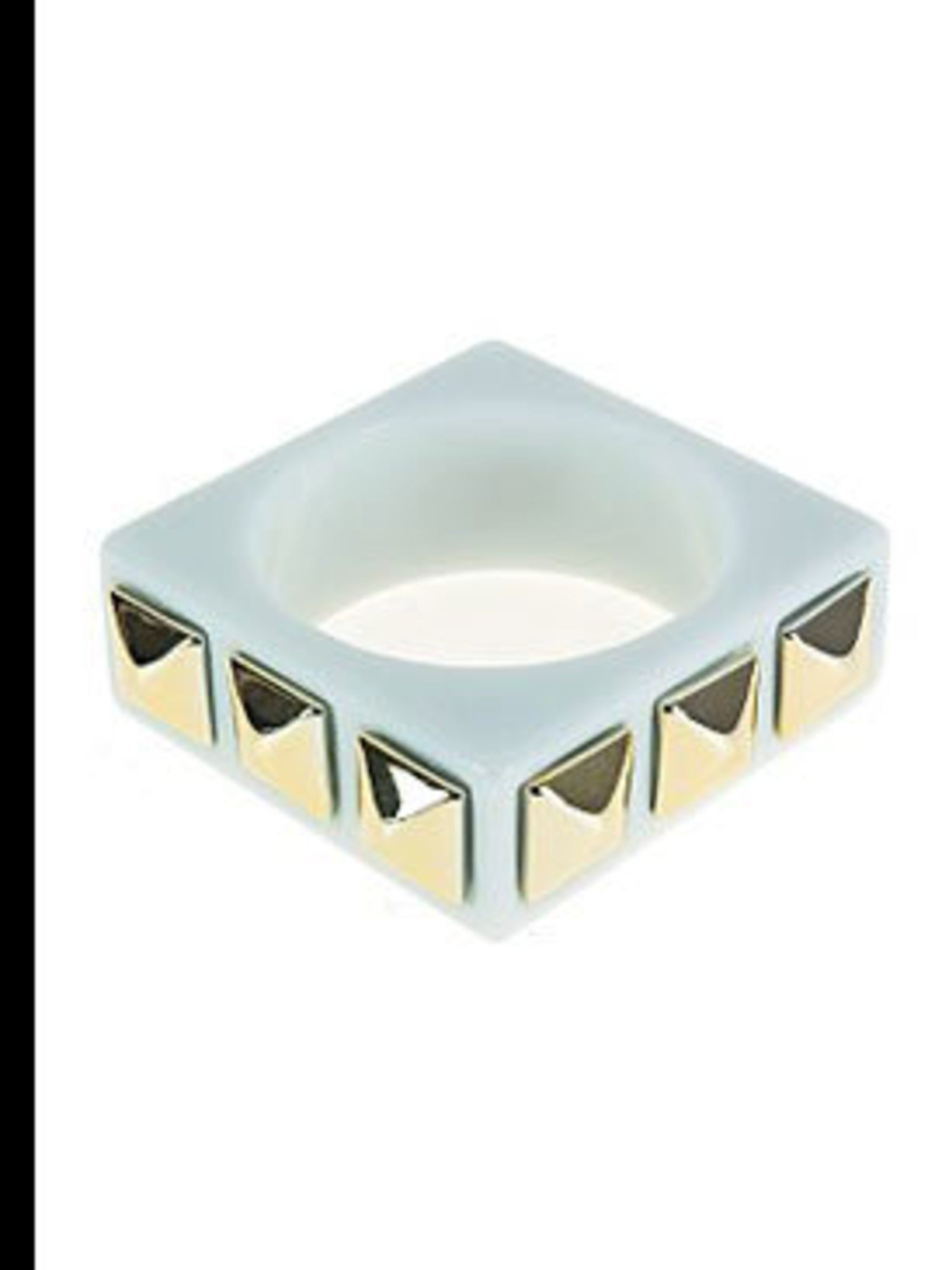 "<p>Square studded bangle, £14, by Therapy at <a href=""www.houseoffraser.co.uk"">House of Fraser</a></p>"