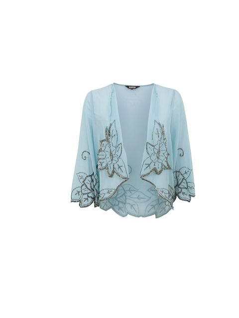 "<p>18 and East embellished chiffon jacket, £39.99, at <a href=""http://www.newlook.com/shop/womens/jackets-and-coats/18-and-east-pale-blue-embellished-leaf-chiffon-jacket-_284053345"">New Look </a></p>"