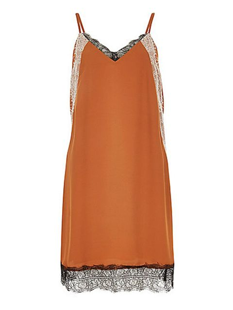 "<p>Slip dress, £38, <a href=""http://www.riverisland.com/women/dresses/day--t-shirt-dresses/rust-brown-lace-slip-dress-681293"" target=""_blank"">River Island </a></p>"