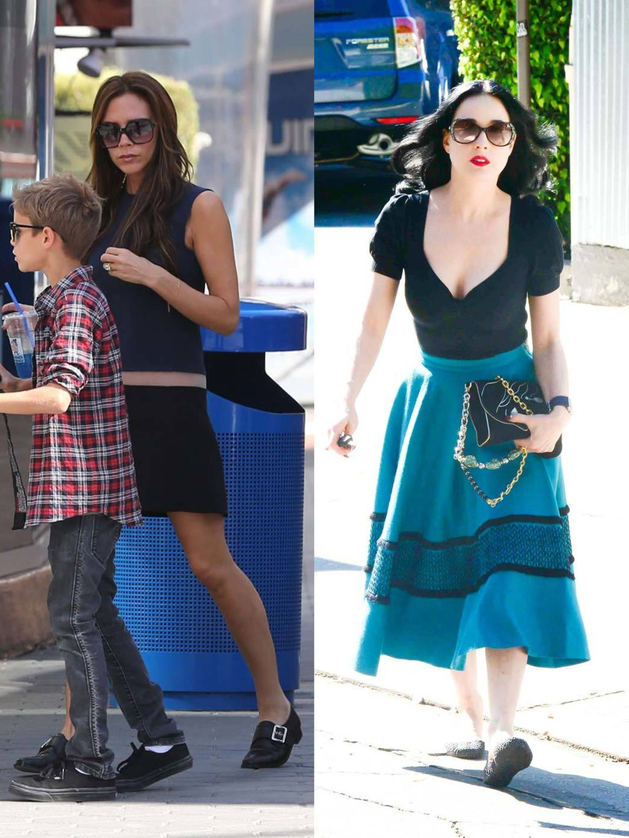 Victoria Beckham And Dita Von Teese Both Wear Flat Shoes Elle Uk