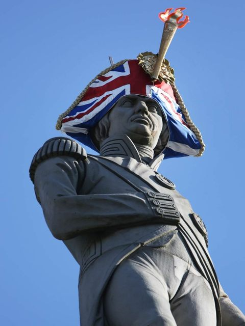 <p>Lord Nelson in Sylvia Fletcher and Lock &amp; Co's Union Jack-covered bicorn hat</p>