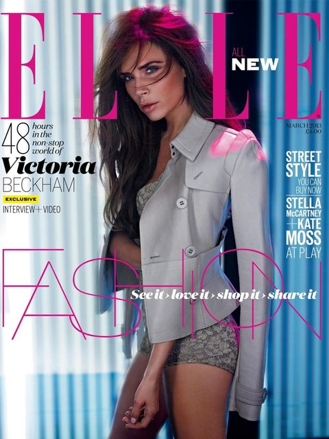 <p>ELLE's new-look March issue, featuring Victoria Beckham</p>