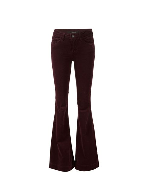 "<p>J Brand at <a href=""http://www.farfetch.com/uk/shopping/women/j-brand-velvet-flared-trousers--item-11190704.aspx?storeid=9423&ffref=lp_pic_3_15_"" target=""_blank"">Farfetch</a>, £242</p>"