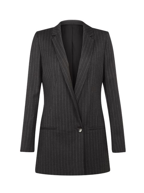 "<p><a href=""http://www.riverisland.com/women/coats--jackets/blazers/grey-ri-studio-wool-blend-pin-stripe-blazer-675877"" target=""_blank"">RI Studio pin-stripe blazer</a>, £100</p>"