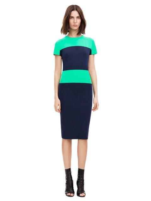 <p>Colour block cap fitted dress, £1,425. Original Season: Spring/Summer 2012, Dress N° 136</p>
