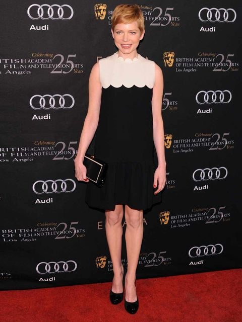 <p>The actress also wore a design from the range to Bafta's pre-Globes tea party.</p>