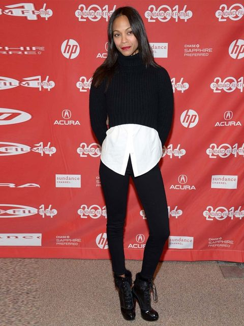 <p>Zoe Saldana wears Michael Kors at the premiere of<em> Infinity Polar Bear </em> during the Sundance Film Festival, 2014. </p>