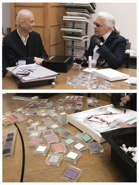 <p>Karl Lagerfeld and Shu Uemura</p>