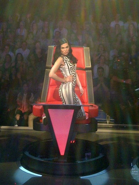 <p>Jessie J shows of the ASOS dress she wore on Saturday's show</p>