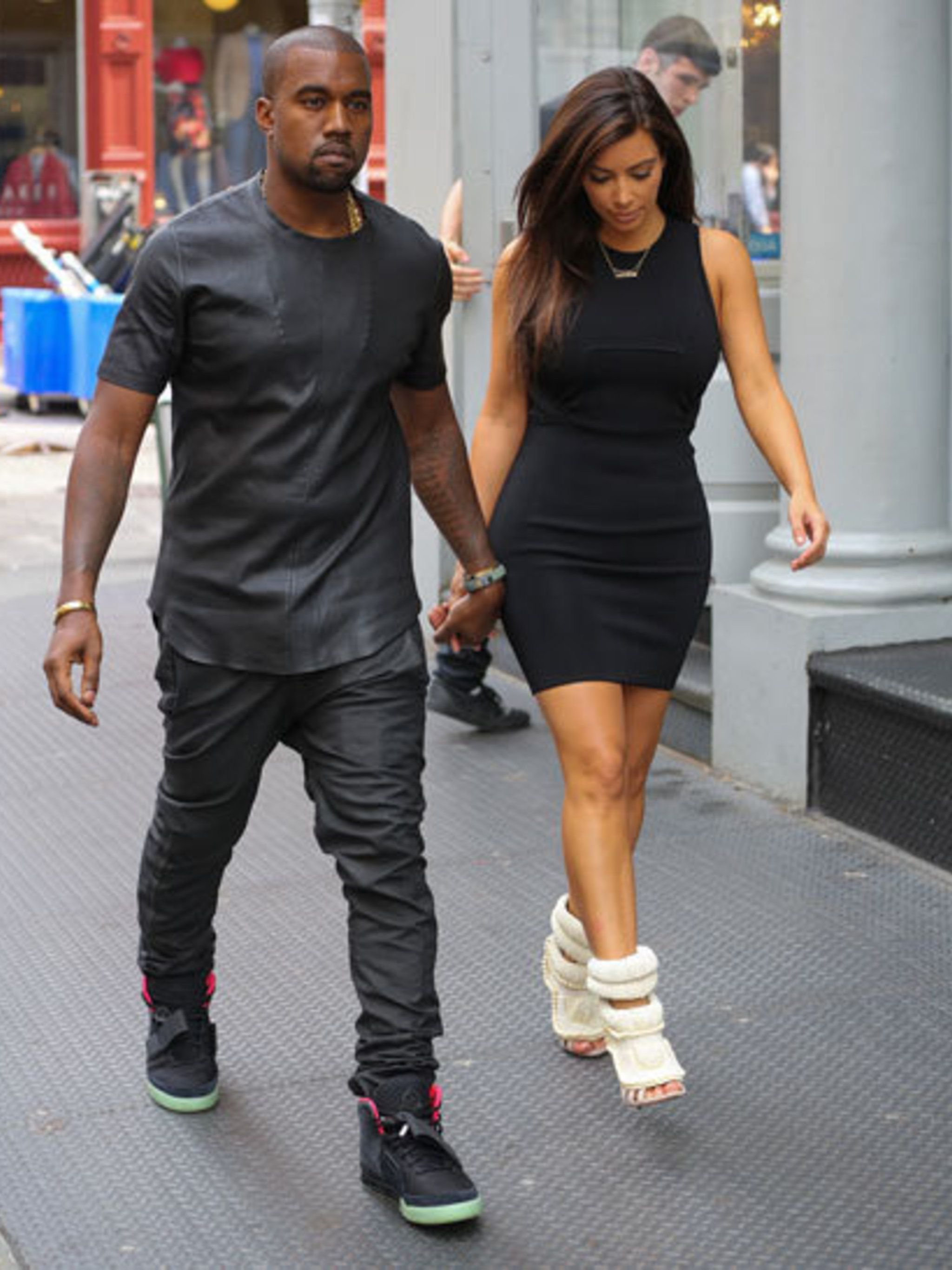 <p>Kim wears shoes co-designed by Kanye West and Giuseppe Zanotti</p>