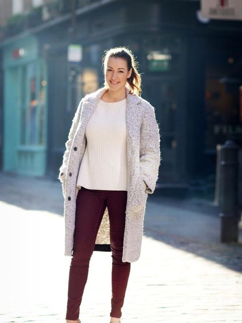 <p>Debbie Morgan, Managing Editor</p>  <p>Topshop coat and trousers, ASOS jumper, Charlotte Olympia shoes</p>