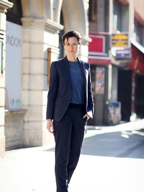 <p>Lotte Jeffs, Deputy Editor</p>  <p>Topshop suit, COS jumper, Stan Smith trainers</p>